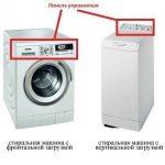 Панели управления горизонтальной и вертикальной стиральной машины